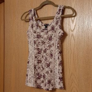 Fang Sheer See Through Lace Floral Tank Top Medium